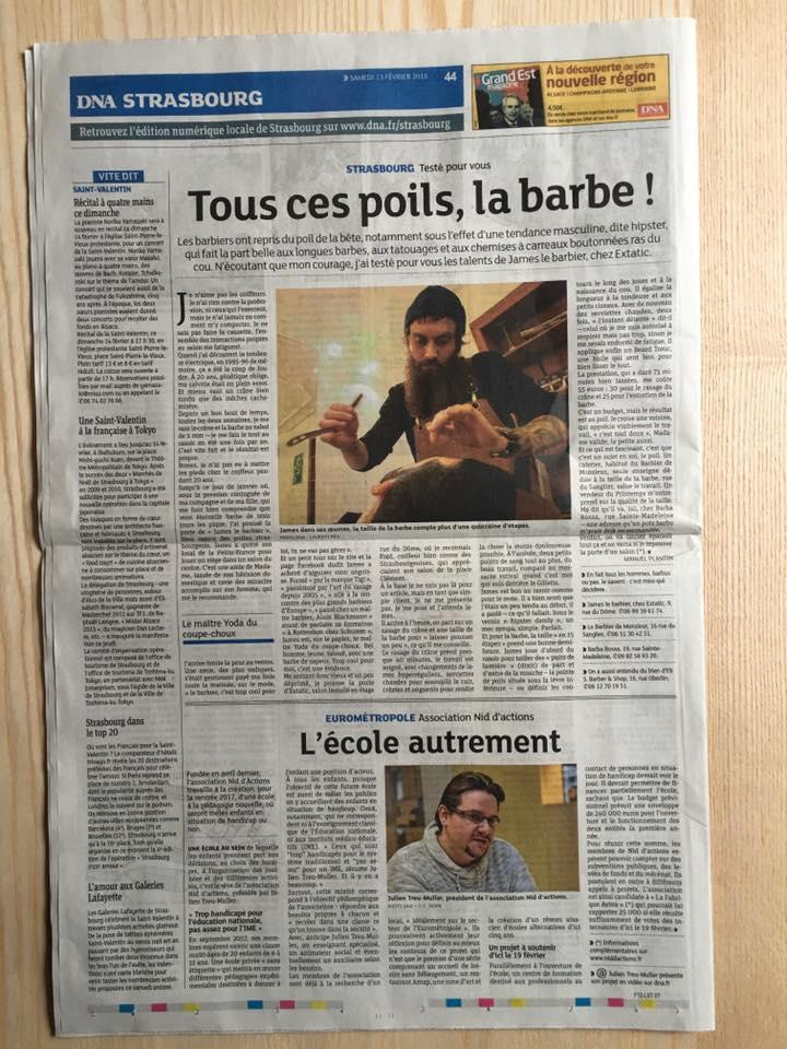Interview james barbier à Strasbourg dans les DNA