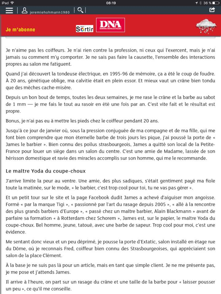 Interview james barbier à Strasbourg (DNA 2/3)